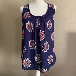 EXPRESS Medallion Print Mixed Media Tie-back Tank